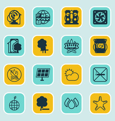 Set of 16 ecology icons includes delete woods vector