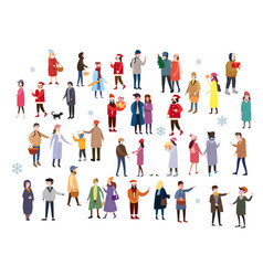 set of people wearing top winter clothes isolated vector image