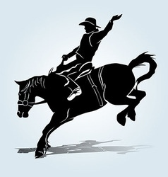 silhouette a rodeo rider vector image
