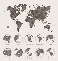 sketches map world land globe vector image