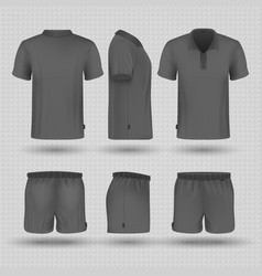 Soccer black sports uniform male shorts and t vector