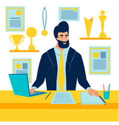 Sports manager winner at desk in vector