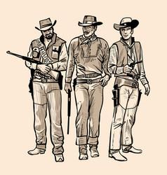 three cowboys with guns vector image