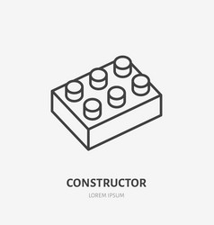 toy blocks line icon building game flat logo vector image
