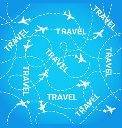 travel background planes flying on blue airplane vector image