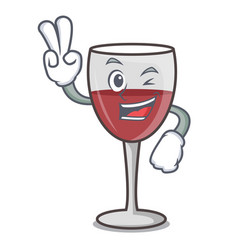 two finger wine character cartoon style vector image