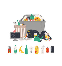 Unsorted garbage in trash containers and bin bags vector