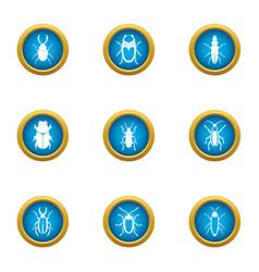useful beetle icons set flat style vector image