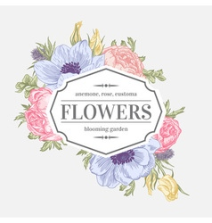 Vintage frame with summer flowers vector image