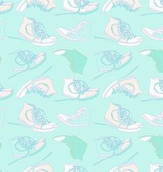 Vintage seamless pattern of sneakers vector