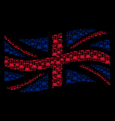 waving uk flag collage of flask items vector image