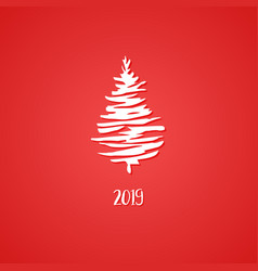 white ink pine tree hand drawn symbol happy new vector image