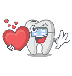 With heart braces in a cartoon shape vector