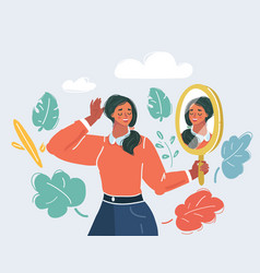 Woman staring at her reflection in a mirror vector