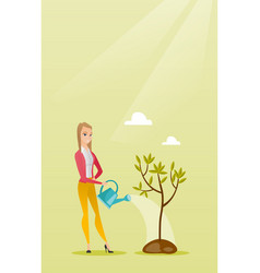 Woman watering tree vector