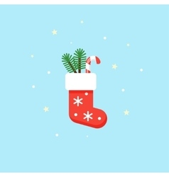 Christmas red sock with gifts inside - vector image