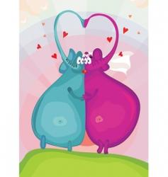 elephants in love vector image