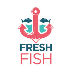 fresh fish emblem with red anchor isolated vector image vector image