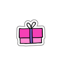 gift box doodle icon vector image vector image