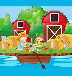 kids planting tree in the farm vector image