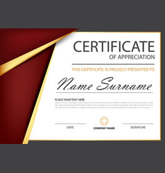 red gold elegance horizontal certificate vector image