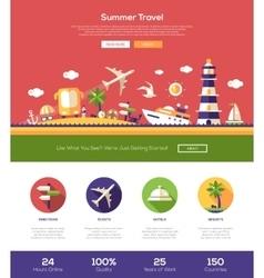 Summer travel website header banner with webdesign vector image vector image