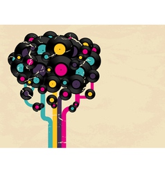 Vinyl record tree vector image