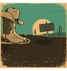Western with cowboy shoes and desert landscape on vector image vector image