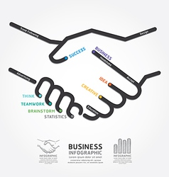 Business handshake diagram line style template vector