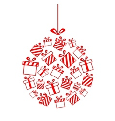 Christmas ball made from gift boxes vector image