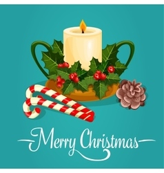 Christmas candle with holly berry greeting card vector image vector image