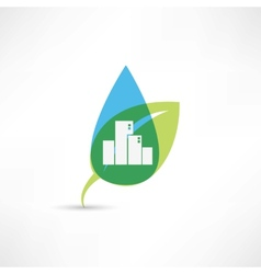 eco city with leafs vector image