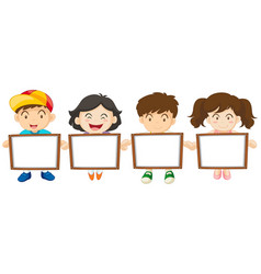 kids holding white board vector image vector image