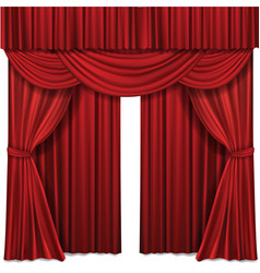 red stage curtains realistic vector image vector image