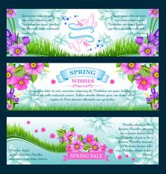 spring season greetings banners vector image vector image