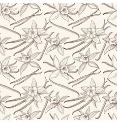 Vanilla stick and flower hand drawn seamless vector