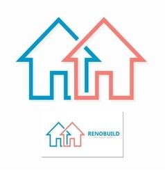 minimal house line logo design vector image vector image