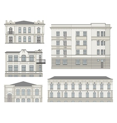 Set of detailed historical building facades vector image