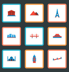 set of landmarks icons flat style symbols with vector image vector image