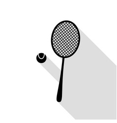 tennis racquet sign black icon with flat style vector image