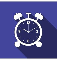 Alarm clock icon with long shadow vector image vector image