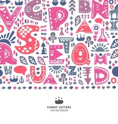 Alphabet funny letters background vector image vector image