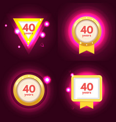 anniversary 40 icons set vector image vector image