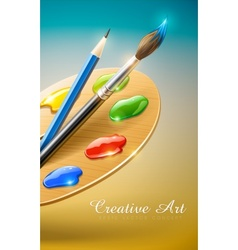 art palette with paint brush vector image