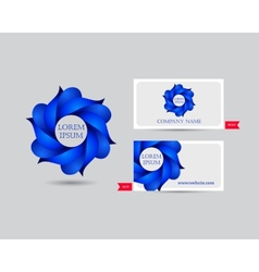 Business emblem icon of blue leaves vector image vector image
