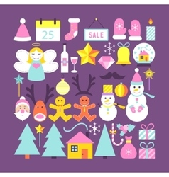 Cute Happy New Year Objects vector image