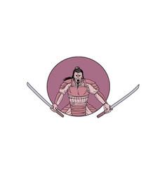 raging samurai warrior two swords oval drawing vector image