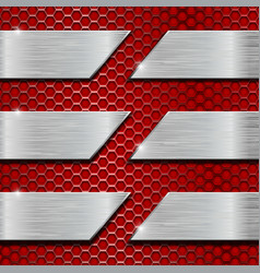 red metal perforated background with steel plates vector image vector image