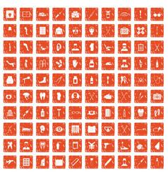 100 medical care icons set grunge orange vector