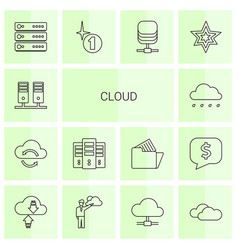 14 cloud icons vector image